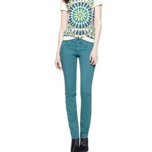 Tory Burch Ivy Super Skinny Jeans Teal Size 29